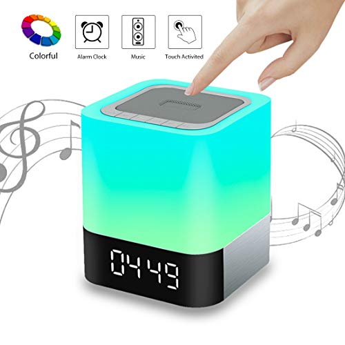VIVOHOME 5 in 1 Wireless Smart Touch Sensor Dimmable LED Night Light Bluetooth Speaker Table Lamp Alarm Clock MP3 Player