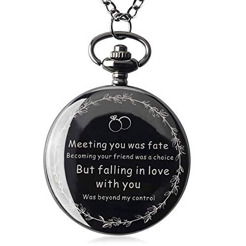 Samuel for Mens Personalized Boyfriend or Husband Gifts for Anniversary Birthday Graduation Christmas Pocket Watch with Gift Box (Meeting You was Fate)