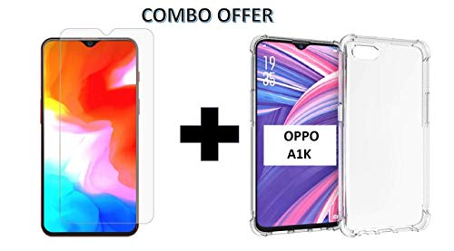 Casodon Oppo A1K Casodon Combo for Oppo A1K (1 Tempered Glass + 1 Transparent Bump Cushion Back Cover) (Combo Pack) by Casodon 9