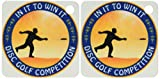 3dRose Disc Golf Competition in it to win it with frisbee disc golf player throwing a shot - Key Chains, 2.25 x 4.5 inches, set of 2 (kc_21103_1)