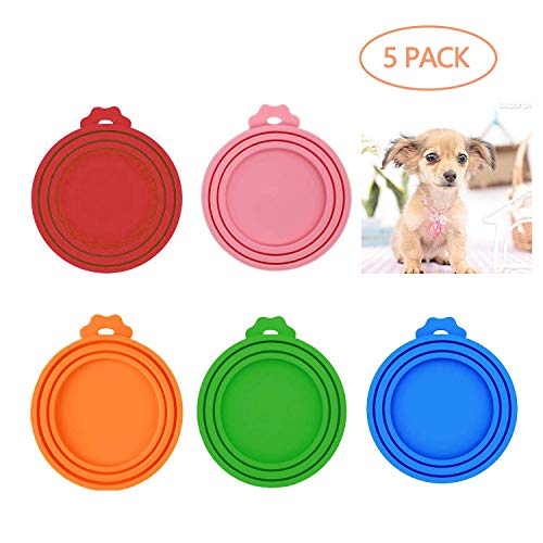 LABOTA 5 Pack Can Covers Universal Silicone Can Lids for Pet Food Cans, FDA Certified Food Grade Silicone & BPA Free (One fit 3 Standard Size Food Cans) 1
