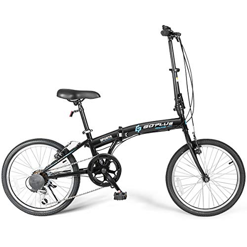 Goplus 20'' Folding Bike, 7 Speed Shimano Gears, Lightweight Iron Frame, Foldable Compact Bicycle with Anti-Skid and Wear-Resistant Tire for Adults (Curved Crossbar)