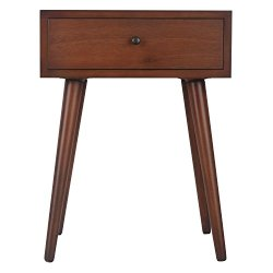 Décor Therapy Mid Century One Drawer Side Table Wood Light Walnut