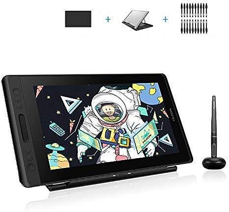 HUION KAMVAS Pro 13,13,3 Pouces tablettes Graphiques avec écran, Anti-éblouissement Entièrement Laminé, 120% sRGB, d'inclinaison de ± 60 °, Support Réglable,4 Touches Express et 1 Barre Tactile