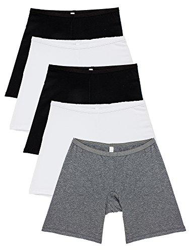 "B2BODY 5 Pack Women's Plus Size Stretch Cotton Long Leg 6.5"" Boyshort Briefs(2XL)"