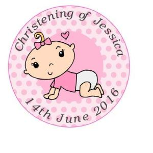 35 x Pre Cut Pink Baby Girl Personalised Christening/Dedication/Baptism/Confirmation Cup Cake – Fairy Cake Toppers/Decorations Edible Wafer Paper 41 fRqmC6RL