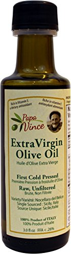 Extra Virgin Olive Oil, Papa Vince Fresh Harvest 2016, Family Made, 100% Unblended First Cold Pressed, Single Sourced from Sicily, Italy, Unfiltered, Unrefined, Robust, Rich in Antioxidants, 3 fl oz
