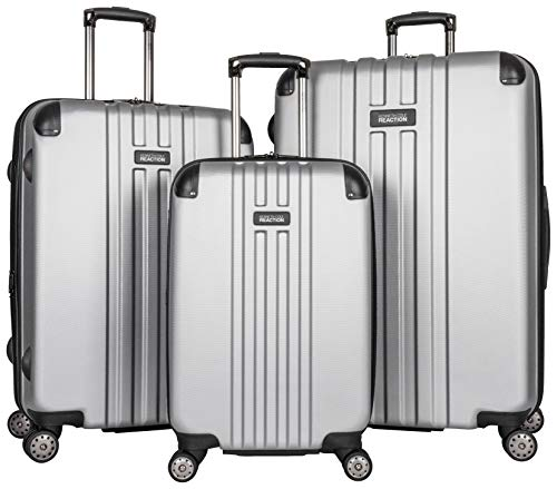 Kenneth Cole Reaction Reverb Hardside 8-Wheel 3-Piece Spinner Luggage Set: 20' Carry-on, 25', 29', Light Silver