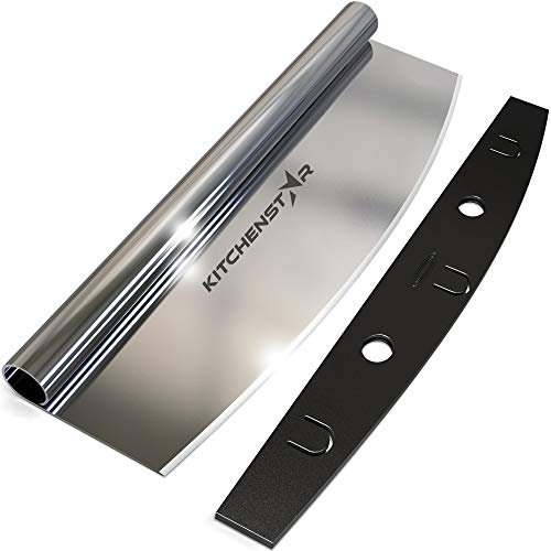 """14"""" Pizza Cutter by Kitchenstar   Sharp Stainless Steel Slicer Knife - Rocker Style w Blade Cover   Chop and Slices Perfect Portions + Dishwasher Safe – Premium Pizza Accessories"""