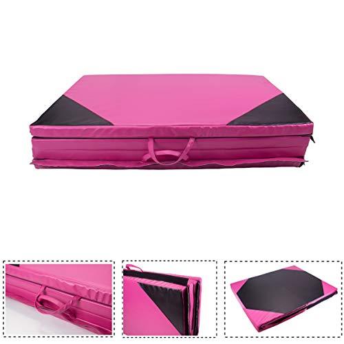 Polar Aurora Thick Folding Gymnastics Gym Exercise Aerobics Mats 4'x10'x2 Stretching Fitness Yoga New Pink & Black