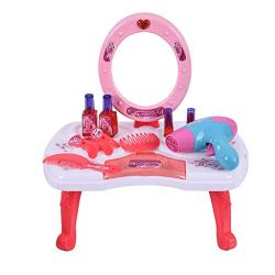 linqiudD 2 in 1 Vanity Pretend Play Dressing Table & Suitcase Beauty Make Up Children's House Dressing Table Set Girl's Toy for 1-3 Years Old (Multicolor)