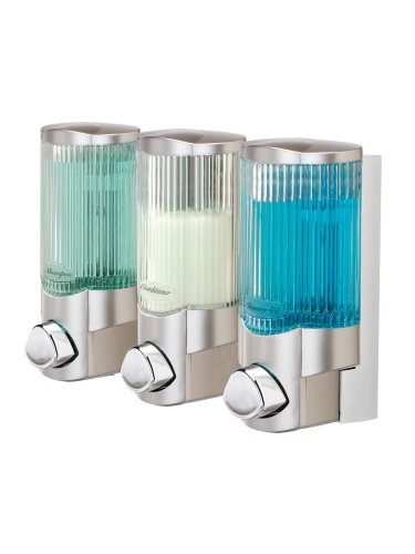 Better Living Products 78364 Signature Dispenser lll, Three Chamber Shower Dispenser with Ribbed Bottle, Satin Nickel