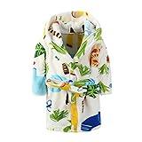 Toddlers/kids Hooded Terry Robe Fleece Bathrobe Children's Pajamas Sleepwear (3T, Zoo)