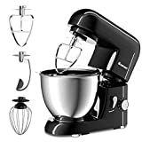 COSTWAY Stand Mixer 4.3 Quart 6-Speed 120V/550W Kitchenaid 3 Attachments Offer Tilt-head Electric Food Mixer w/Stainless Steel Bowl (Black)
