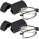 Marc De Rez Foldable Mini Reading Glasses 2 Pack - Flip Top Cases - Folding Prescription Readers For Men and Women (Black, 2.00)