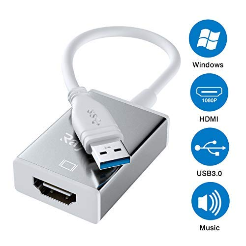 USB 3.0 to HDMI, USB to HDMI 1080P HD Display Audio Video Converter for Windows 10/8/7 Computer Only (Not Support Mac OS, Linux, Vista)