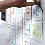 mcSquares Stickies 4in x 4in -24 Pack- Reusable, Dry-Erase, Adhesive-Free Stickers. Never Buy Single Use Paper Sticky Notes Again! Now with Free Wet-Erase Tackie Marker!