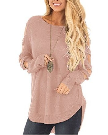 Ferbia Womens Cut out Long Sleeve Sweater Cold Shoulder Knit Jumper ... f05883a5c