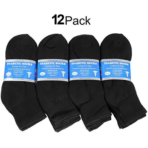 Falari 12-Pack Diabetic Socks Ankle Unisex Physicians Approved Socks Black Size 10-13