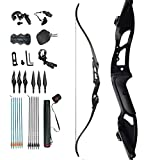 D&Q Takedown Recurve Bow and Arrow Aduilt Set AluminumAlloy Riser Right Hand for Outdoor Hunting Practice Shooting 30 35 40 45 50lbs