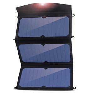 Solar Charger, Angozo 24W 2-Port USB Universal Portable Foldable Solar Panel Charger