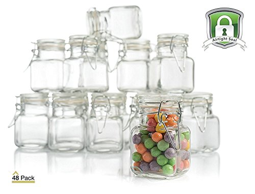 3 oz Small Glass Jars With Airtight Lids, Glass Spice Jars - Leak Proof Rubber Gasket and Hinged Lid for Home and Kitchen, Small Glass Containers with Lids for Party Favors (48 Pack)