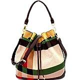 Handbag Republic Zip-top & Drawstring Plaid Bucket Hobo w/Strap (Green Multi)