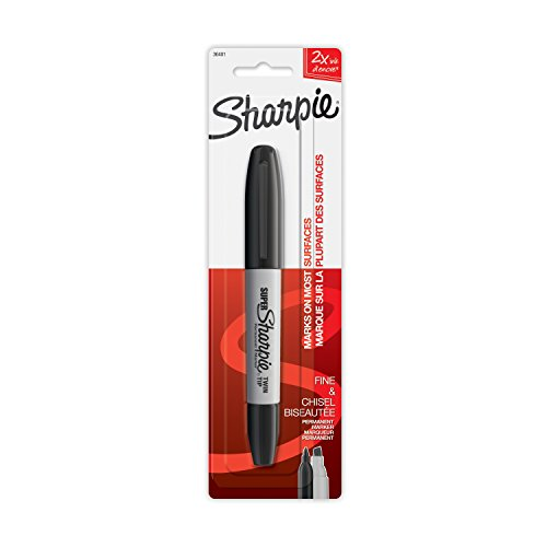 Sharpie Super Twin Tip Permanent Marker, Fine and Chisel, Black, 1 Count (36401PP)