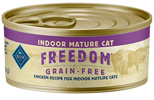 Blue Buffalo Freedom Grain Free Natural Mature Pate Wet Cat Food, Indoor Chicken 5.5-oz cans (pack of 24)