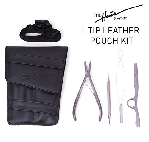 I-Tip Leather Pouch Starter Kit by The Hair Shop - Threading Tool, Multifunction Plier, Blending Razor, and Leather Pouch w /Belt for Professional Hair Extensions