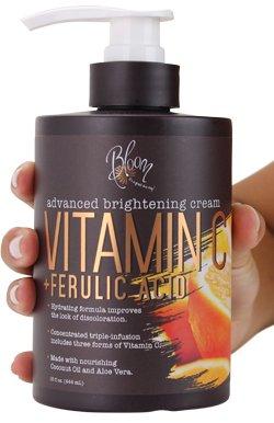 Bloom Vitamin C Cream Advanced Brightening for Brighter Skin, Discoloration, Dark Spots, Age Spots, Acne Scars, Sun Damaged Skin With Ferulic Acid. Large 15oz Bottle