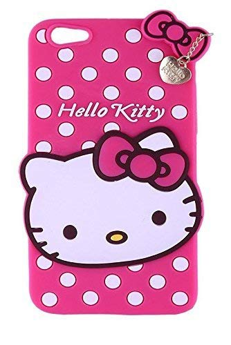 Explocart 3D Cute Hello Kitty Silicone with Pendant Soft Rubber Back Cover for Oppo A71 - (Pink) 109