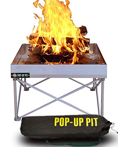 Campfire Defender Protect Preserve Pop-Up Fire Pit - Portable 24'x24' 8lbs. Never Rust Fire Pit - Burns with 80% Less Smoke - Heat Shield Optional for Leave No Trace Fires (Pop-Up Pit)