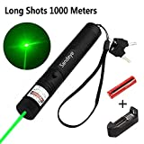 Sandeye Green Laser Pointer High Power Hunting Rifle Scope Sight Laser Pen, Remote Laser Pointer Travel Outdoor Flashlight, LED Interactive Baton Funny Laser Pointer Toys for Cats/Dogs