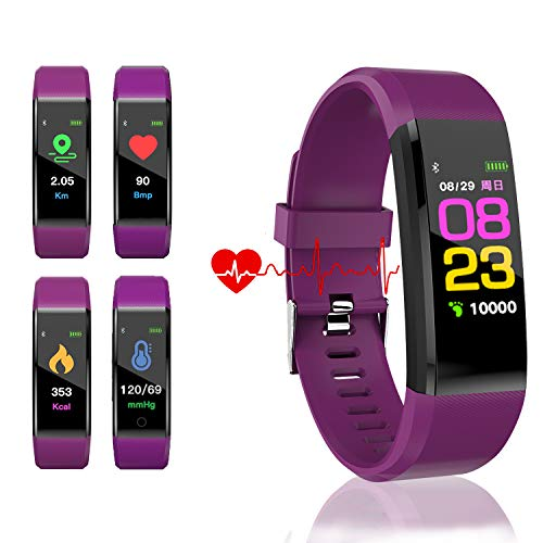 HK Fitness Tracker HR, Activity Tracker Watch with Heart Rate Blood Pressure Monitor Waterproof Smart Bracelet Wrist Band with GPS Step Calorie Counter Pedometer Watch for Kids Women Men,Purple