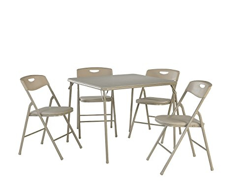 Cosco 37557ANTE 5-Piece Folding Table and Chair Set, Antique Linen