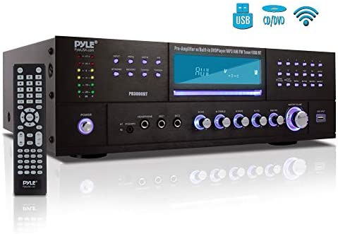 4-Channel Home Theater Bluetooth Preamplifier – 3000 Watt Stereo Speaker Home Audio Receiver Preamp w / Radio, USB, 2 Microphone w / Echo for Karaoke, CD DVD Player, LCD, Rack Mount – Pyle PD3000BT