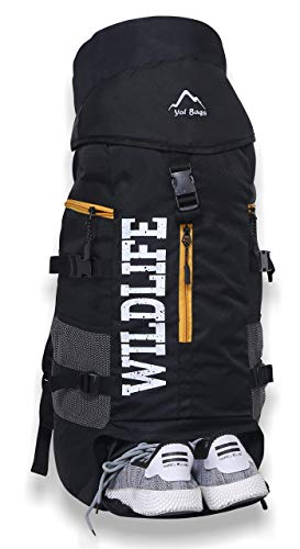 410P3u9ehWL - YOI Yo! Bags 55 litres Hiking Bags for Men Rucksack Travel Backpack for Adventure Camping Trekking Bag with Laptop Compartment & Shoes Compartment (Black)