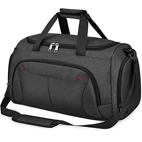 Gym Duffle Bag Waterproof Large Sports Bags Travel Duffel Bags with Shoes Compartment Weekender Overnight Bag Men Women 40L Black