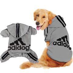 Scheppend-Original-Adidog-Big-Dog-Large-Clothes-Sport-Hoodies-Sweatshirt-Pet-Winter-Coat-Retriever-Outfits-Grey-XXXX-Large