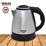 Inalsa 1.5 L Electric Kettle Absa-1500W with 360 Degree Cordless-Base |In-Built Filter Sieve|Dry Boiling&Over-Heat Protection|Cord Winder,Stainless Steel Finish|Big Mouth&Easy To Serve,(Black/Silver)