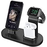 OLEBR 3 in 1 Charging Stand for iWatch Series 4/3/2/1, AirPods and iPhone Xs/X Max/XR/X/8/8Plus/7/7 Plus /6S /6S Plus/9.7 inches iPad (Original Charger & Cables Required) -Black