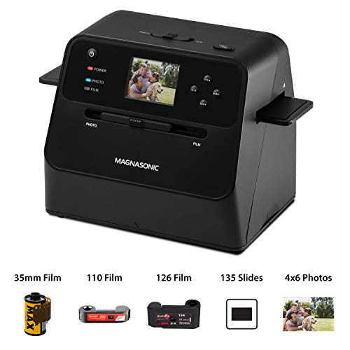 Magnasonic All-in-One Film & Photo Scanner, 14MP Resolution, Converts 4x6 Photos, 35mm/110/126/Super 8 Film & 135 Slides into Digital JPEGs, Vibrant 2.4' LCD Screen, Fast Scanning (FS60)