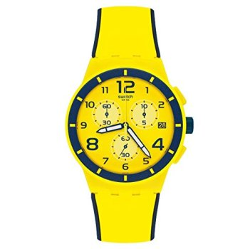 Swatch Men's Chrono Plastic SUSJ401 Yellow Silicone Quartz Watch