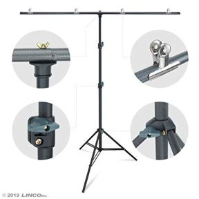 Linco-Lincostore-Zenith-Portable-T-Shape-Background-Backdrop-Stand-Kit-5x67ft-5ft-Wide-Fixed-and-67ft-High-Adjustable-Lightweight-Only-4-Lbs-Easy-to-Carry-and-Storage
