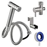 Handheld Bidet Sprayer for Toilet, Stainless Steel Hand Bidet Diaper Sprayer for Bidets Attachment, Dual Function Shattaf with Hose, Brushed Nickel