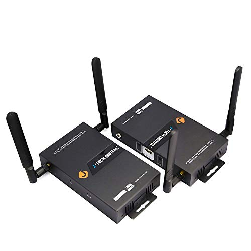 J-Tech Digital HDbitT Series 1X2 Wireless HDMI Extender/Adapter/Dongle 164 Ft Dual Antenna Supporting Full HD 1080P with IR Signal Transmission