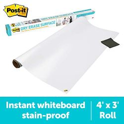 Post-it Dry Erase Whiteboard Film Surface for Walls, Doors, Tables, Chalkboards, Whiteboards, and More, Removable, Stain…