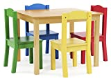 Tot Tutors TC715 Collection Kids Wood Table & 4 Chair Set, Natural/Primary