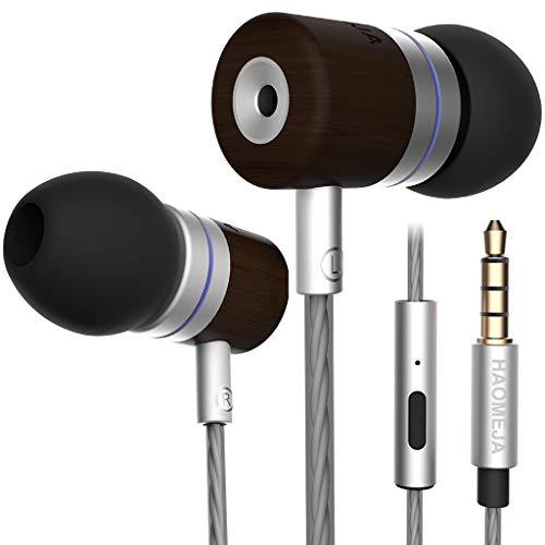 Headphones/Earphones/Earbuds HAOMEJA NRG in-Ear Headphones HD Sound Boom Audio Earphones Cool Earbuds Good Sound Premium Wired Earphones mic with Microphone DJ Bass Boost (Silver Black Wood)
